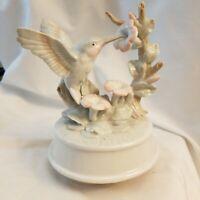 "Hummingbird & Flowers Ceramic Turning Wind Up Music Box Plays ""Love Story"""