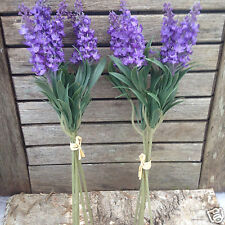 2 Bunches of Artificial Lavender in Bloom Sprigs, Cottage Faux Silk Flowers