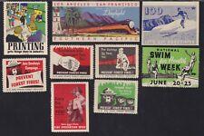 US Vintage Mixed lot 9 Cinderella Stamps Prevent Fire, RR, Printing, Swim L422