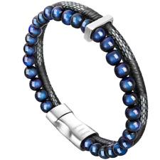 murtoo Mens Bead Leather Bracelet, Blue and Brown Bead and Leather Bracelet for