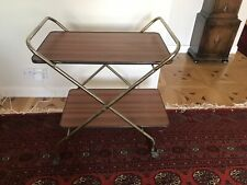 VINTAGE RETRO HOSTESS DRINKS TROLLEY - TWO TIER TEA TROLLEY FOLDING