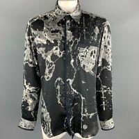 JUST CAVALLI Size XL / IT 56 Black & Grey Print Button Up Long Sleeve Shirt