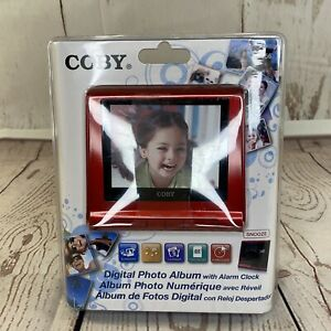 Coby Red Digital Photo Album with Alarm Clock USB -New Sealed DP356 Pictures