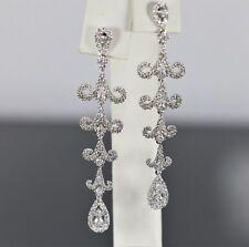 Peter Benjamin Co 18k Oro Blanco Diamante Redondo Lágrima Pendientes Colgantes