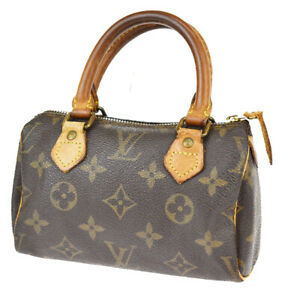 LOUIS VUITTON Mini Speedy Hand Bag Monogram Leather Brown France M41534 83SD043