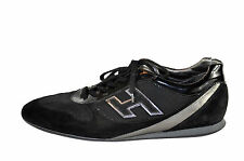 Hogan Mens Black Sneaker Patent Leather Suede and Mesh Size 9.5