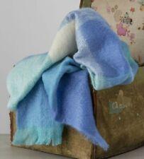 Avoca Sky Mohair Large Throw Blue White Check Tartan Made in Ireland