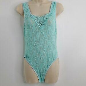 Vintage CINEMA ETOILE Teddy Bodysuit Mint Green Mesh Lace Seductive Wear Large