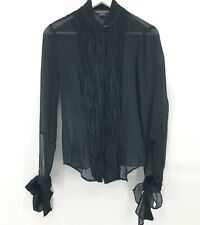 Armani Exchange Womens Sheer Long Sleeve Cuff Ties High Neck Black Blouse size S