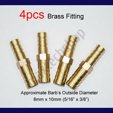 4PCS 5/16 to 3/8  8mm x 10mm Brass Union Hose Barb Fitting Fuel Reducer Joiner