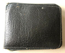 Vintage Black Leather Zip Around 6 Slot Picture Credit Card Wallet 4.5x4x0.5 In