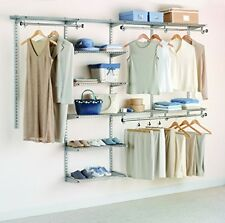 New Custom Fits Any Walk-In Or Reach-In Closet Deluxe Kit, Titanium, 4-8 Foot
