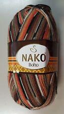 Nako Boho Sock Yarn #81257 Tan Brwon Gold & Orange Mix 100g