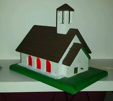 Vintage Wood Folk Art Hand Made Lighted Musical Church Plays It's A Small World