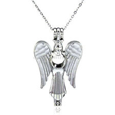K51 Women Silver Wing Fairy Angel Locket Necklace Beads Cage Steel
