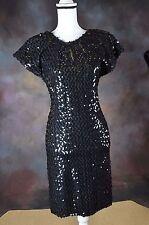 Niki Womens Dress  VTG sequins Black Cocktail Party Prom  formal sz 11-12  (N)
