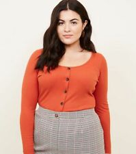 45d22b2a37d NEW LADIES NEW LOOK Curves Orange Ribbed Button Front Top UK PLUS SIZE 26