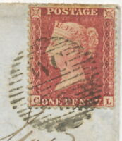 "2427 1857 QV 1d red-brown white paper perf. 14 (""CL') fine env. LONDON  ""WC / 5"""