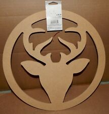 "Christmas Large Deer Wreath You Craft Handmade Holiday's 14"" x 1/4"" Thick 174K"