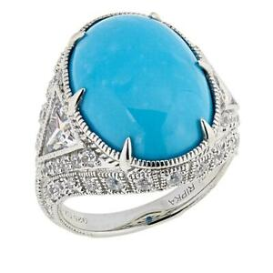 Judith Ripka Oval Turquoise & CZ Diamonique Accent Cocktail Ring Size 9 - $220