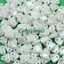 10g Luster-Opaque White CzechMates 2-Hole Triangle Glass Beads 6mm