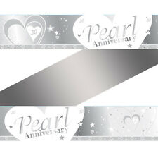 9ft x 30th Pearl Wedding Anniversary Party Foil Banner Decoration