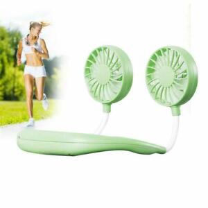 Portable USB Rechargeable Neckband Sport Fan Lazy Neck Hanging Dual Cooling Fan