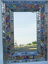 "40"" PUNCHED TIN MIRROR with Mexican talavera tile, hacienda style, handmade"