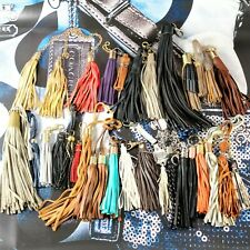 28 pc DESIGNER LEATHER TASSEL LOOP LOT ASSORTED COLORS KEY FOB KEYCHAIN HANG TAG