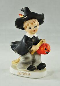 "Vintage Halloween Lefton October Male Witch Figure 6"""