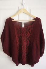 FREE PEOPLE sz S burgundy crochet knit and lace dolman top EUC