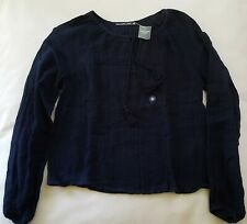 Abercrombie & Fitch Women's Long Sleeve V-Neck Peasant Top Navy Blue - XS NWT