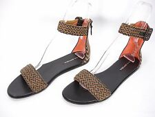 NEW VIA SPIGA 2 TONE LEATHER BACK ZIP ANKLE STRAP OPEN TOE SANDALS WOMEN'S 10 M