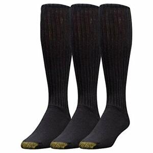 Gold Toe Men's Cotton Over-The-Calf Athletic Socks 3-Pack Black 10-13 Shoe Si...