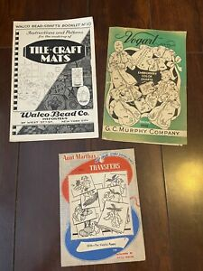 Vogart Aunt Marthas Embroidery Transfer Patterns + Walco Bead Co Tile Craft Mats