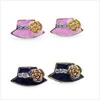 Charmantes chapeau capot/perle et cristal breloque pomme boucles d'oreilles