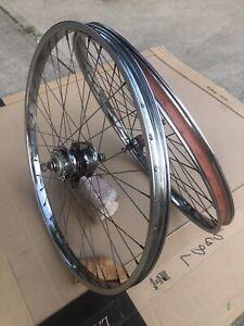 "Vintage 62 Schwinn American S-7 2 Speed Kickback Wheel 26"" Rim Set Call # Listed"