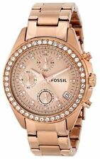 Fossil ES3352 Rose Gold Dial Metal Strap New Women's Quartz Chronograph Watch