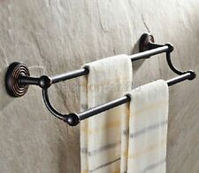 Oil rubbed Bronze Wall Mounted Bathroom Double Towel Rail Holder Rack Bar fba117