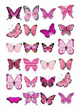 24 icing cupcake cake toppers edible pink butterfly mix