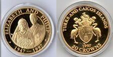 1997 Turks Caicos Large Silver Proof 20 crowns Golden Wedding Ann.