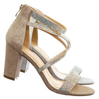 Alondra5 Rhinestone Crystal Chunky Heel Sandals - Womens Dressy Ankle Strap Shoe