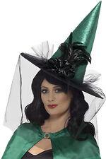 Lusso Cappello da strega con piume e tulle NUOVO - Carnevale berretto copricapo