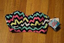 HOT WATER Chevron Print Bikini Top Bustier Corset Womens Small Black Pink Yellow