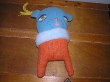 Handmade Signed by Amy Arnold Blue & Orange Sweater Creature Stuffed Animal
