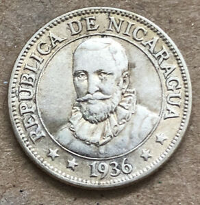 Nicaragua 1936 10 Centavos Silver Very Nice Condition LM