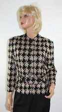 JOSEPH RIBKOFF Beige Geometric Print Button Front Jacket Blazer - Size 10