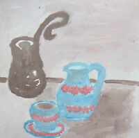 Expressionist  oil painting still life coffee pot
