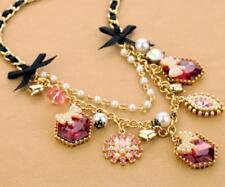 Women pendant Betsey Johnson Chain Pearl bow crystal rhinestone sweater necklace