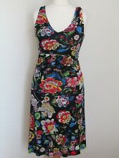 Joe Browns Ladies Black Floral Jersey Summer Tea Skater Dress Size 10 Sleeveless